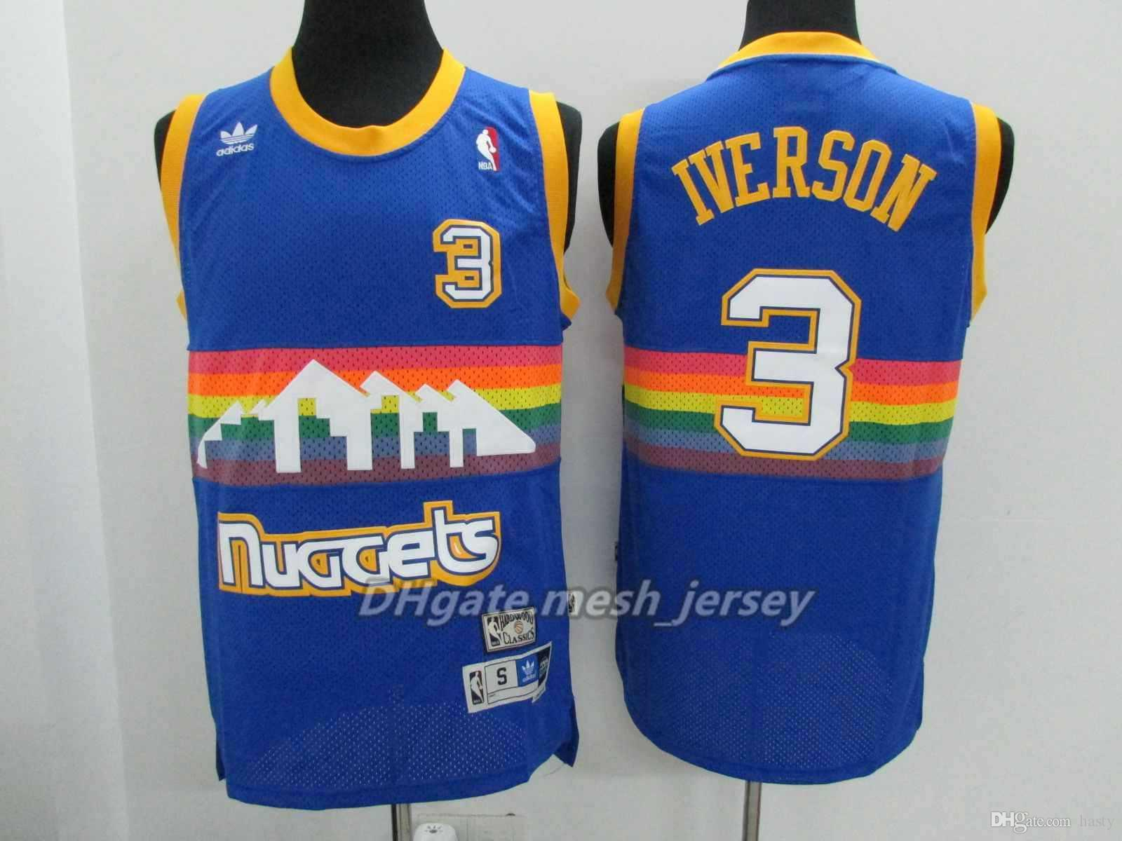 official photos da119 75fe3 2018 Retro Men Denver Basketball Nuggets Jersey 55 Dikembe Mutombo 3 Allen  Iverson Stitching Jerseys Rainbow S Xxl From Hasty, $18.1 | Dhgate.Com