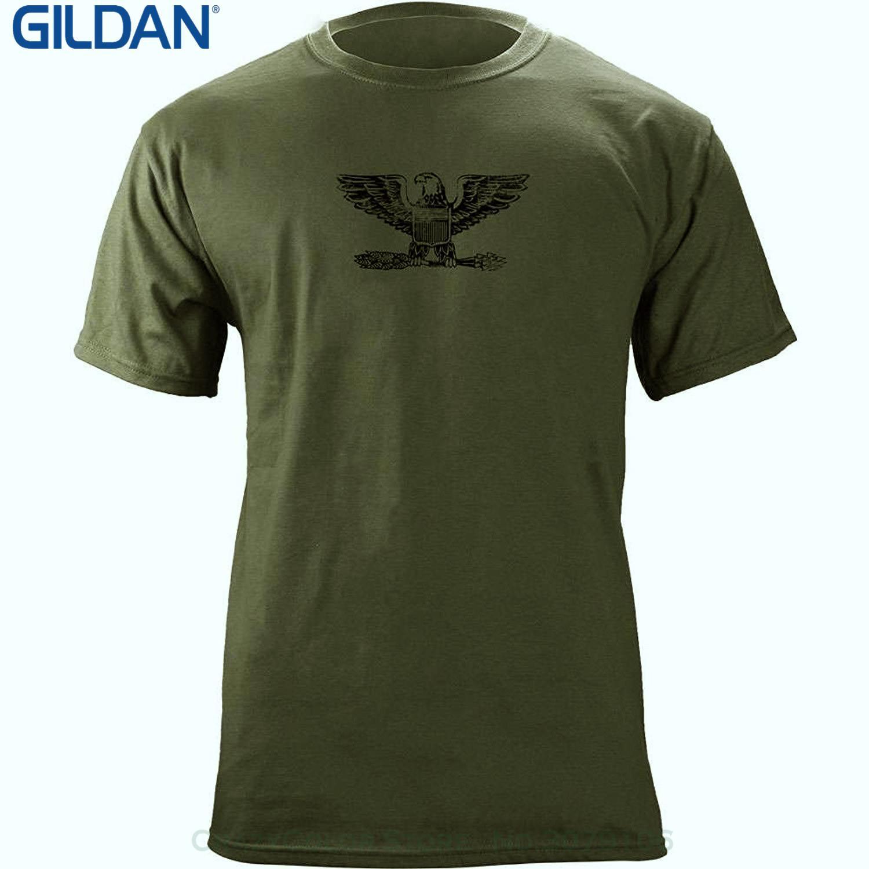 Descuento al por mayor Hombres Divertidos O Cuello de Manga Corta Camiseta de Algodón Vintage Oficial Rank O 6 Coronel / Capitán Veterano Camiseta