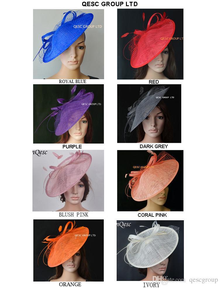 NOVA multi cor grande Sinamay Fascinator chapéu / pires fascinator com Pena e Veiling para raças, festa e casamento. diâmetro 35cm.