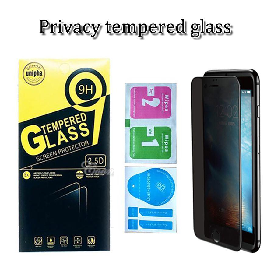 templado de privacidad protector de la pantalla de cristal para iphone 11 pro max anti-espía protector de pantalla para iPhone 6 7 8 plus con LDHs paquete hipping