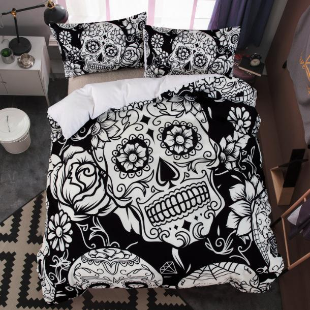 3pcs Pinted 3D Skull Flowers Duvet Cover Set Bedding set With Pillowcase for Adults Kids Twin Full Queen King Size sj242