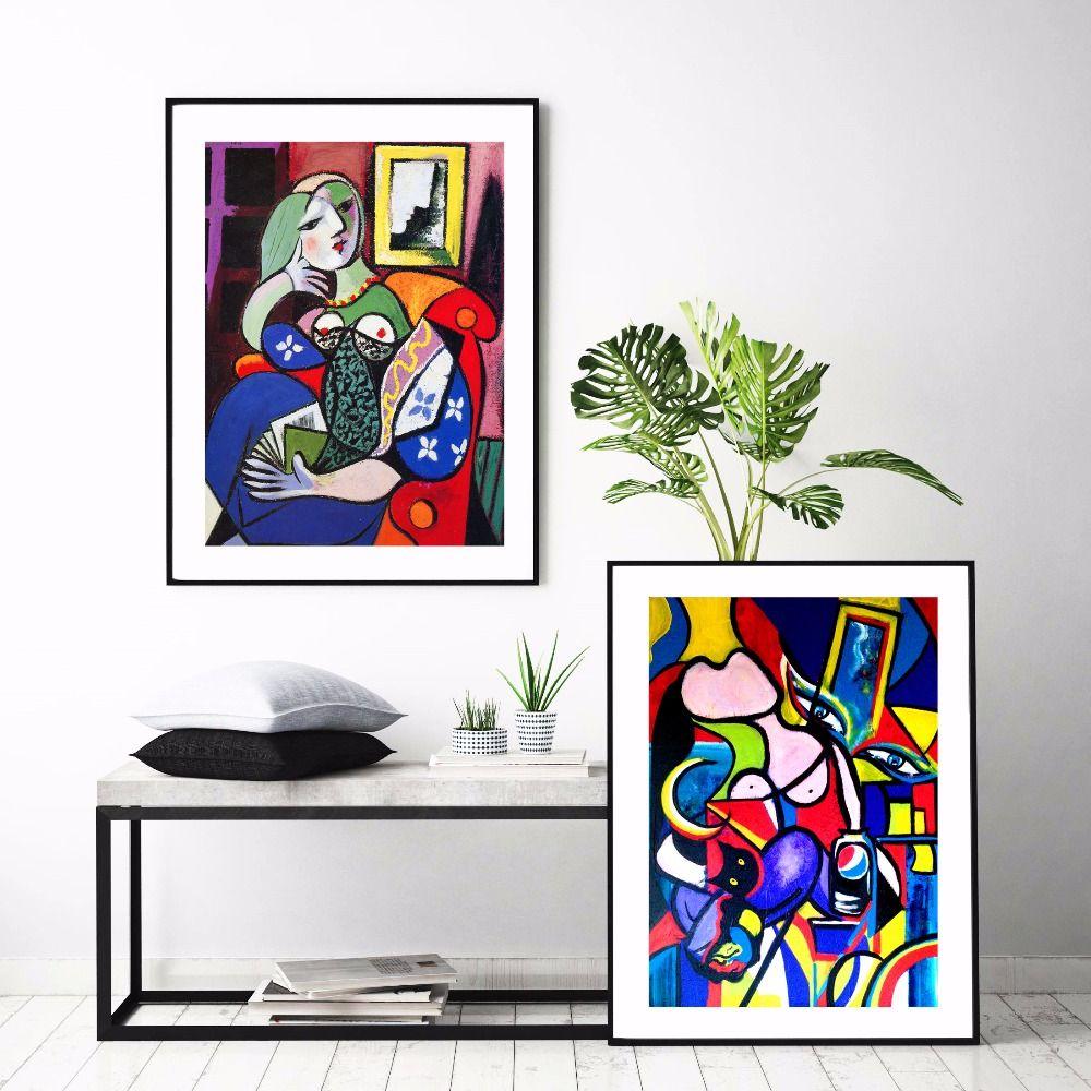 Acuarela mundialmente famoso Picasso Mujeres Pintura abstracta en lienzo Inicio Impresión en HD Deco Wall art decora el cartel