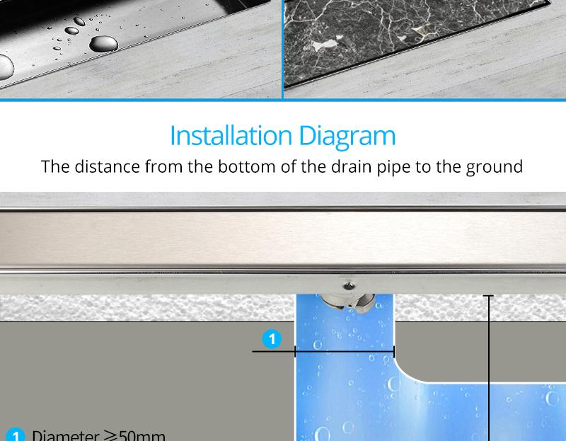 hm Odor-resistant Floor Drain Cover 60 80 100 120cm Rectangle SUS304 Stainless Steel Shower Grate Invisible Long Floor Drain (6)