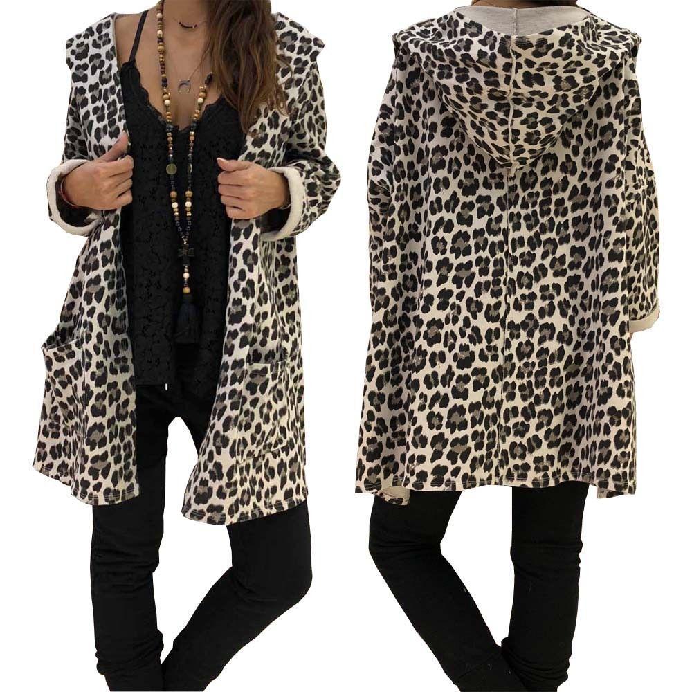Cappotto lungo a maniche lunghe femminile con maniche lunghe in kimono con maniche lunghe a maniche lunghe, leopardo delle donne, autunno e inverno