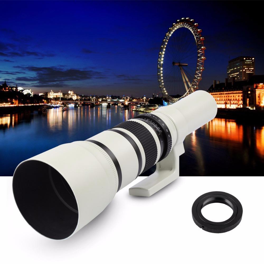 Lightdow 500mm F / 6.3 Teleo de teleobjetivo Lente de teleobjetivo fijo + T2 Anillo adaptador de lentes para Canon 70D 77D 80D Nikon Sony Pentax DSLR Cámaras
