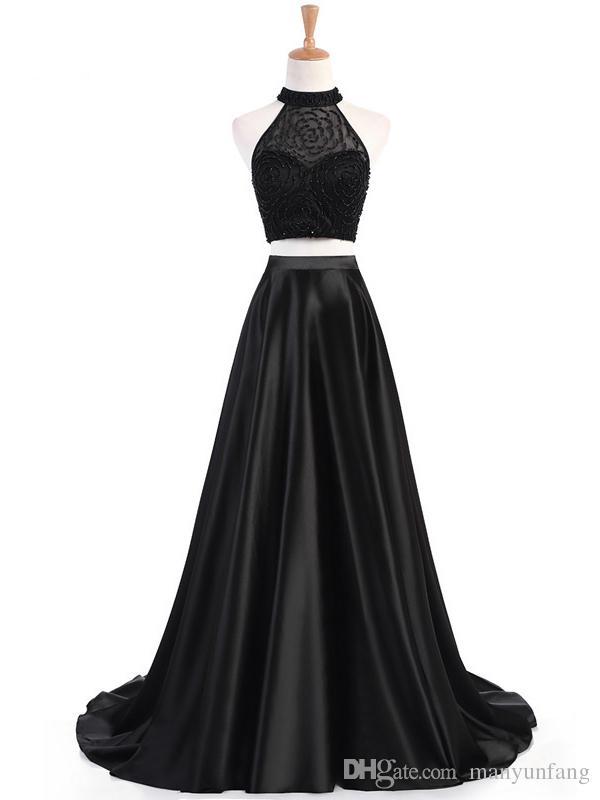 Gerçek Resimleri A-line mücevher Boyun çizgisi Gelinlik Modelleri Boncuklu Kadınlar 2020 İki Adet Kolsuz Abiye Parti Elbise Sweep Tren