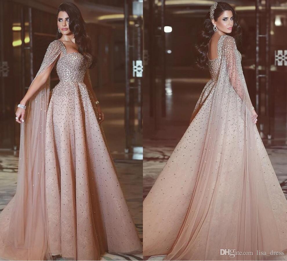 Großhandel Sparkly Pailletten Perlen Abendkleider Mit Ärmeln Backless Blush  Tüll A Linie Spitze Abendkleider Nach Maß Arabisch Abendkleid Von