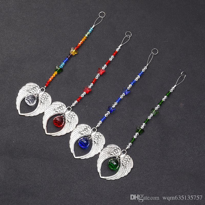 5 PCS Chakra Verre Cristal Papillon Suncatcher Prism Suspendus Ange Ailes Pendentif Main À La Maison De Mariage Décoration WQM136