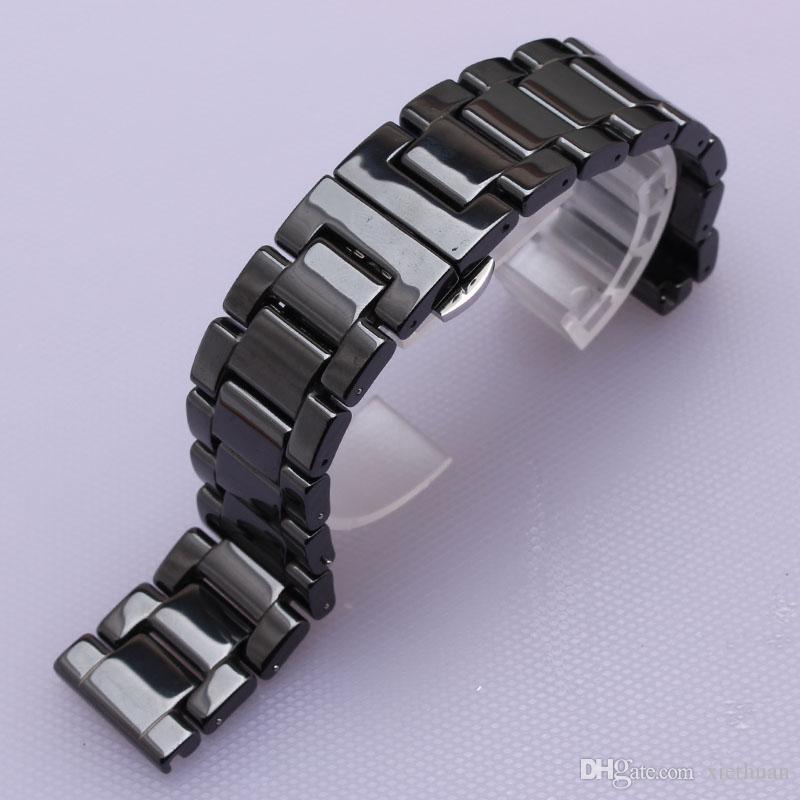 6604c14a ... Керамические ремешки для часов ремни часы браслеты черный ремешок для  часов полированные наручные часы ремешок браслет ...