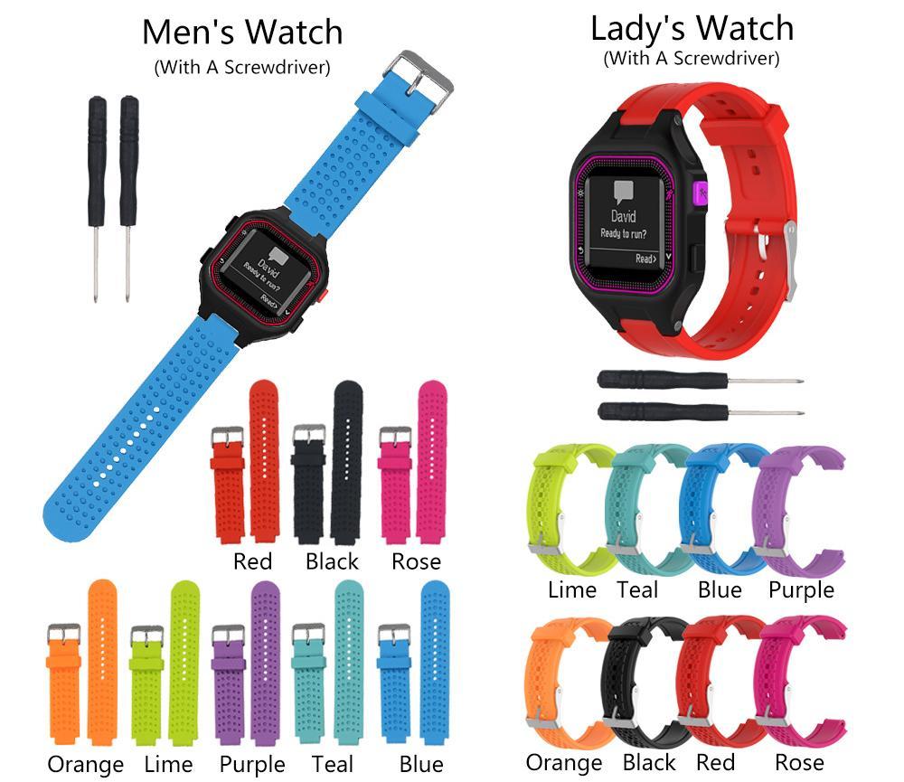 8 cores garmin forerunner 25 pulseira de relógio de silicone substituição banda de pulso para garmin forerunner 25 gps watch com ferramentas