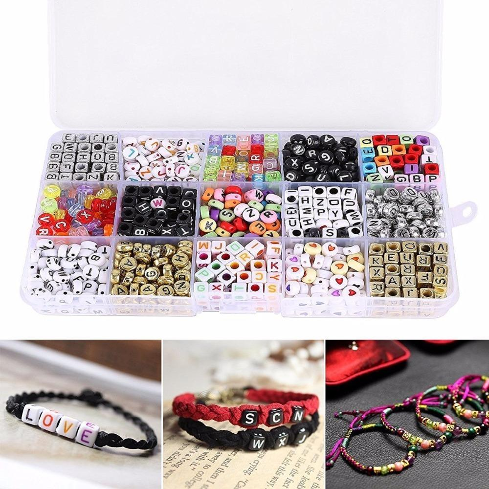 1100pcs/Set DIY Jewelry Mixed Acrylic Plastic Alphabet Beads,Assorted Color Letter Cube Beads for DIY Bracelets Necklaces Key Chains