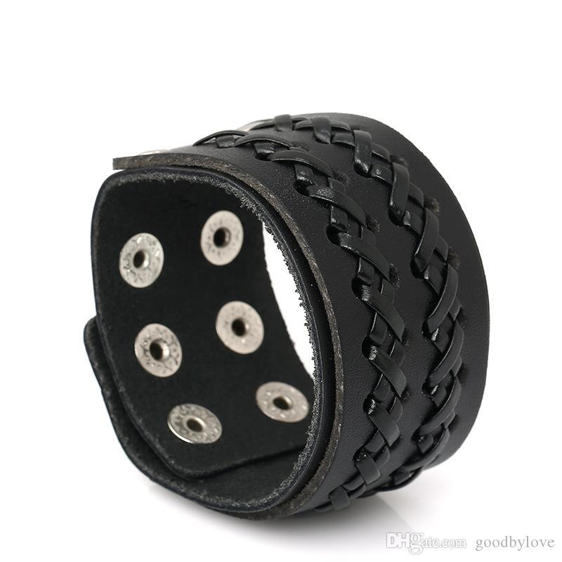 """Punk Mens Jewelry Black Cuero de Vaca Real 4CM 1.57 """"Ancho Tejido Ajustable Hebilla de Aleación Wrap Brazaletes Pulseras Brazaletes"""