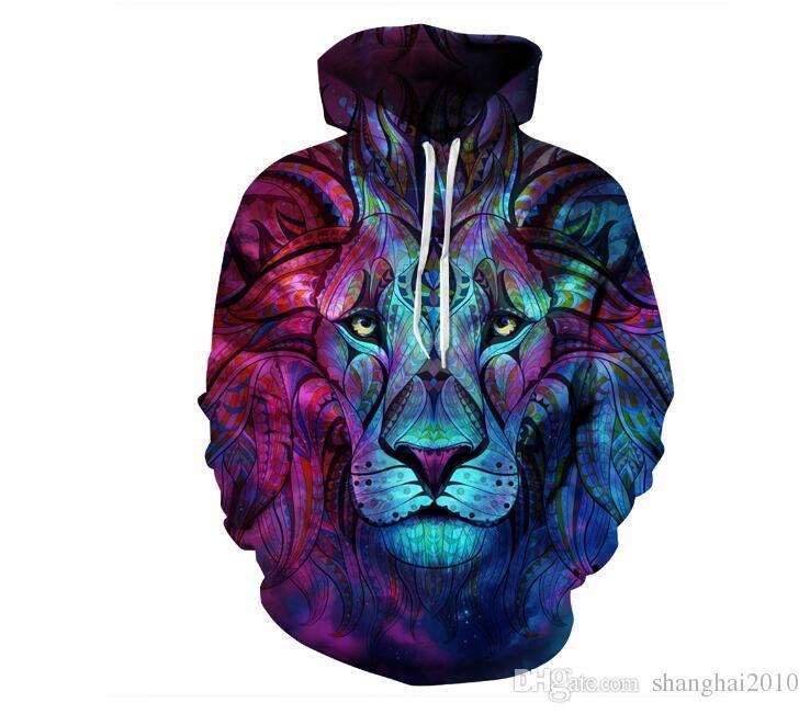 Hoodies 3D Mens Casual Sweatshirts Space Galaxy loup lion Imprimer Hoodie Univers Starry Sky Graphique Unisexe Pull Survêtement Survêtement De Mode