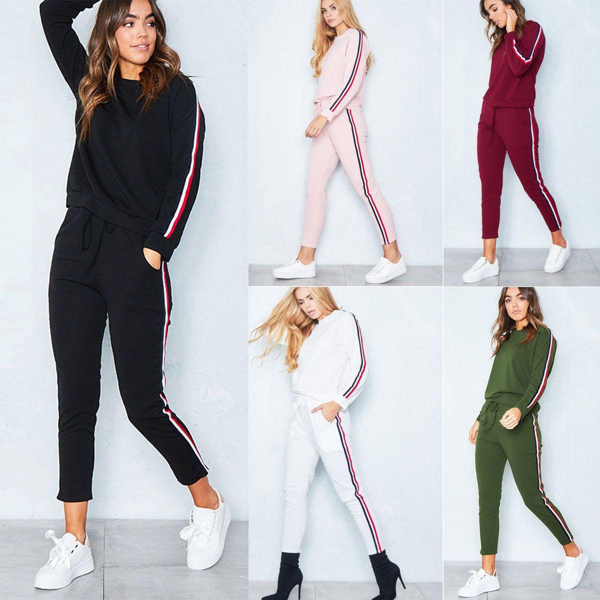 Womens Tracksuit Plain Hoodie Sweatshirt Tops Long Pants Trousers Sports Suit