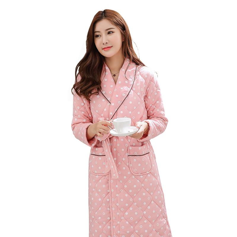 reputable site fast color perfect quality 2019 Ladies Winter Warm 3 Layers Quilted Bathrobe Women Dot Print Kimono  Bath Robe Bridal Wedding Bridesmaid Robes Dressing Gown 3XL From Tutucloth,  ...