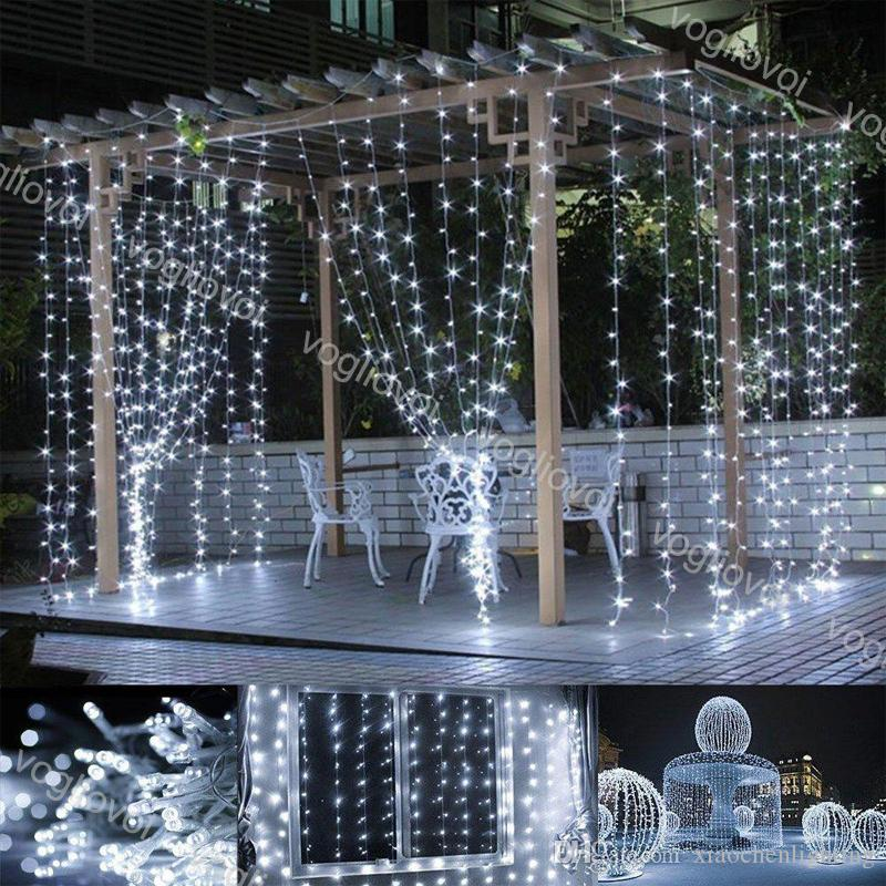 LED-Saiten Fenstervorhang 300 LED-Lichtstring 3m x 3m Fee-Lichter für Indoor Outdoor Weihnachten Halloween Hochzeit Epacket