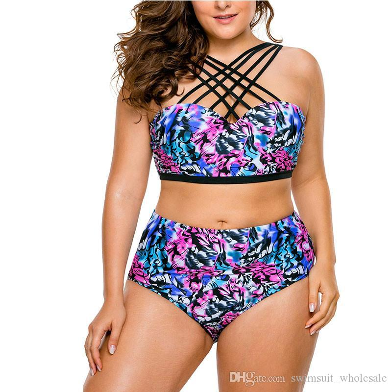 ff64839cf7 2018 New Plus Size Swimsuit Women Strappy Printed Push Up Bikinis High  Waist Bathing Suit Maillot De Bain Biquini LC410093 UK 2019 From  Swimsuit wholesale