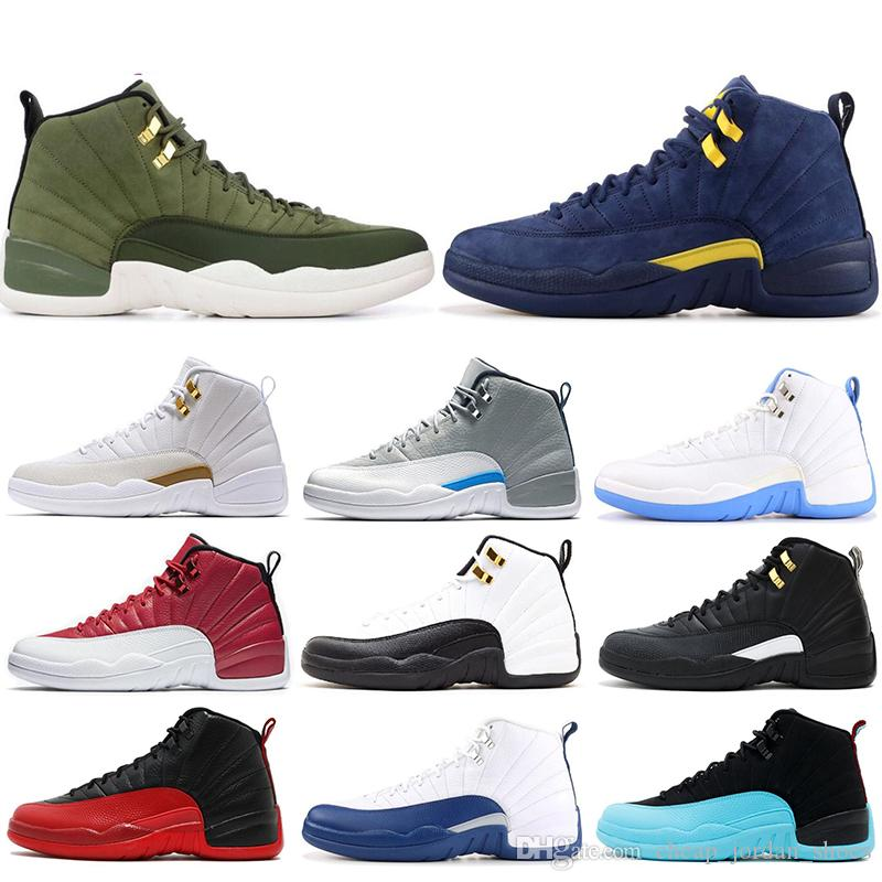 2019 Hommes 12 12s Basketball Chaussures Bleues Blanc Blanc Blanc Noir Dark Wolf Grey Grey Game Taxi Table de baskets rouges Gym Maître Taille 8-13