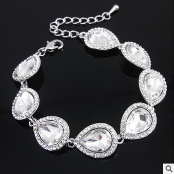 Hot New Crystal Conjuntos de joyería nupcial Color de plata Lágrima Nupcial Pulsera Pendientes Establece Joyería de la boda Envío gratis