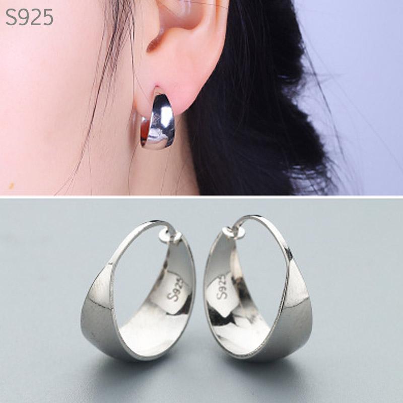 intero sale100% reale genuino solido puro argento 925 orecchini a cerchio per le donne di moda Belle Jewerly femminile orecchini rotondi regalo Smooth