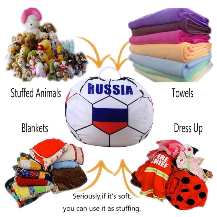 32 design 26 inch storage bean bag Soccer World Cup Animal Toys Storage Bean Bag Stuffed Plush Toy Organizer Chair for Kids.