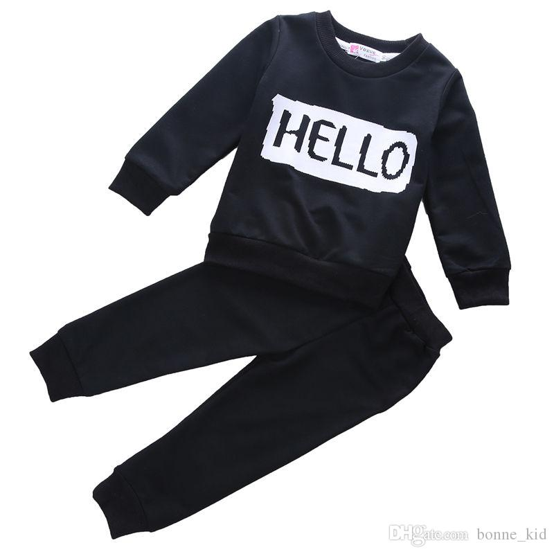 Kid Baby Girl Sport Clothing Hello Bye Letter Print Long Sleeve Pullover Tops Pants 2-piece Outfits Black Fashion Winter Autumn Kid Clothes