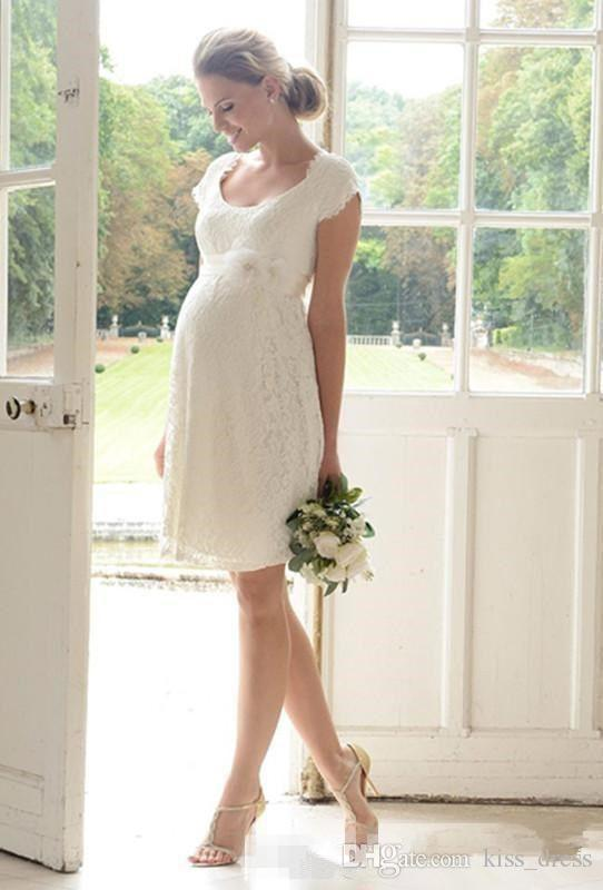 Maternity Short Lace Wedding Dresses Summer Style Matched Flower Sash Cap Sleeve Knee Length Empire Pregnant Bridal Gowns 2019 Custom W875