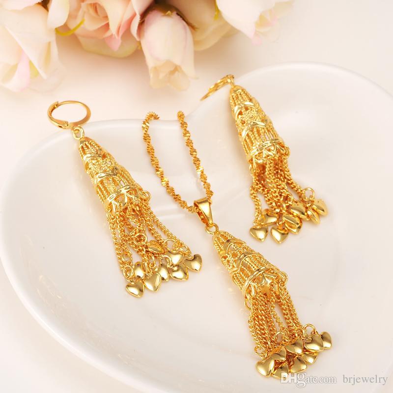 suche nach neuesten günstiger Preis klar in Sicht Großhandel Dubai Gold Farbe Plus Ohrringe Anhänger Halskette Hochzeit  Quaste P Für Äthiopische / Arabische / Inidan / Nigerian Frauen Party  Schmuck ...