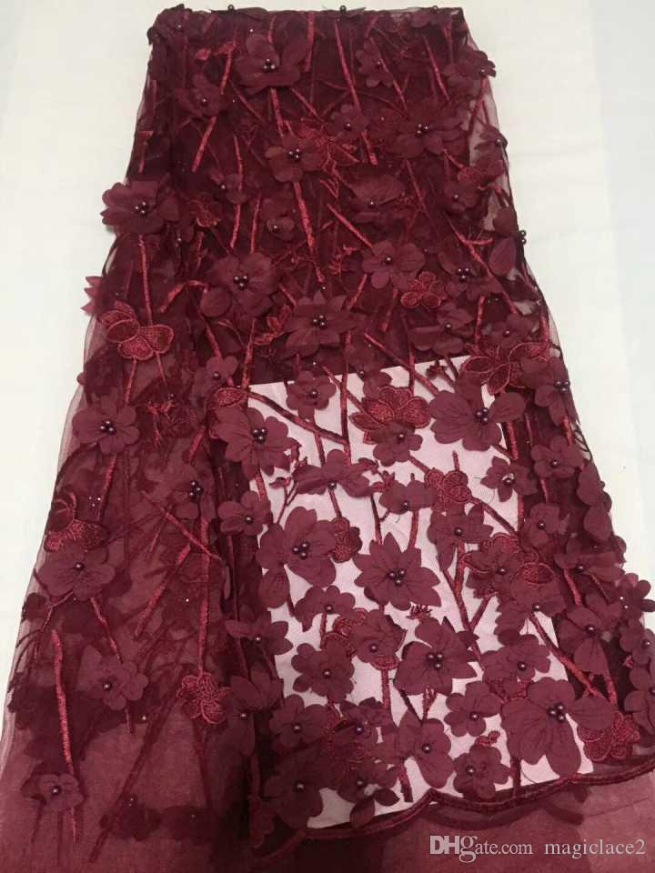Африканский тюль кружева с бисером французский кружевной ткани вино красный нигерийский кружева ткани для свадебного платья CDN46