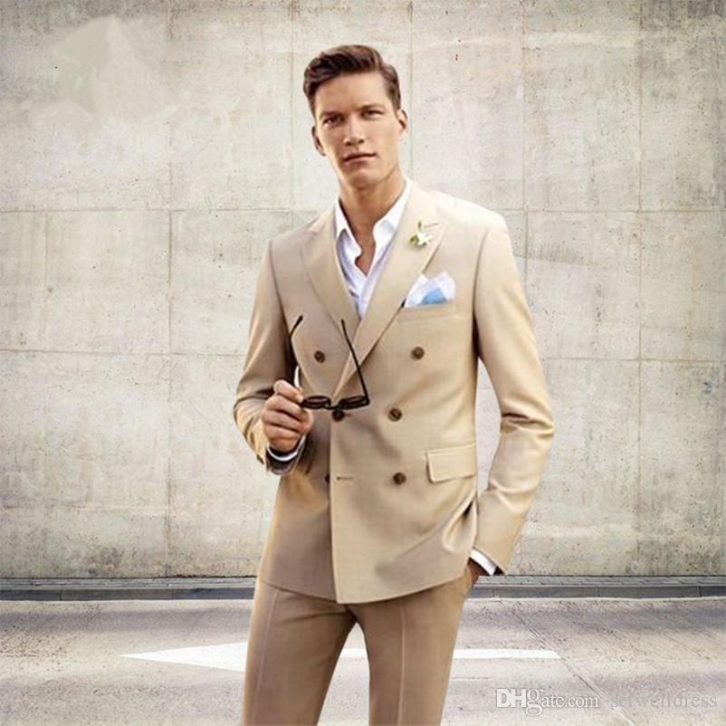 Champagne Men Suits New Double Breasted Men's Wedding Tuxedo Custom Made Men Daily Work Wear Business Suit (Jacket+Pants)