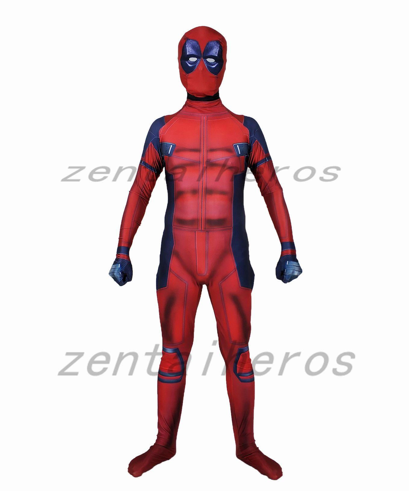3D printing muscles Deadpool costume Cosplay Superhero Costume Lycra Zentai Bodysuit Halloween Party suit
