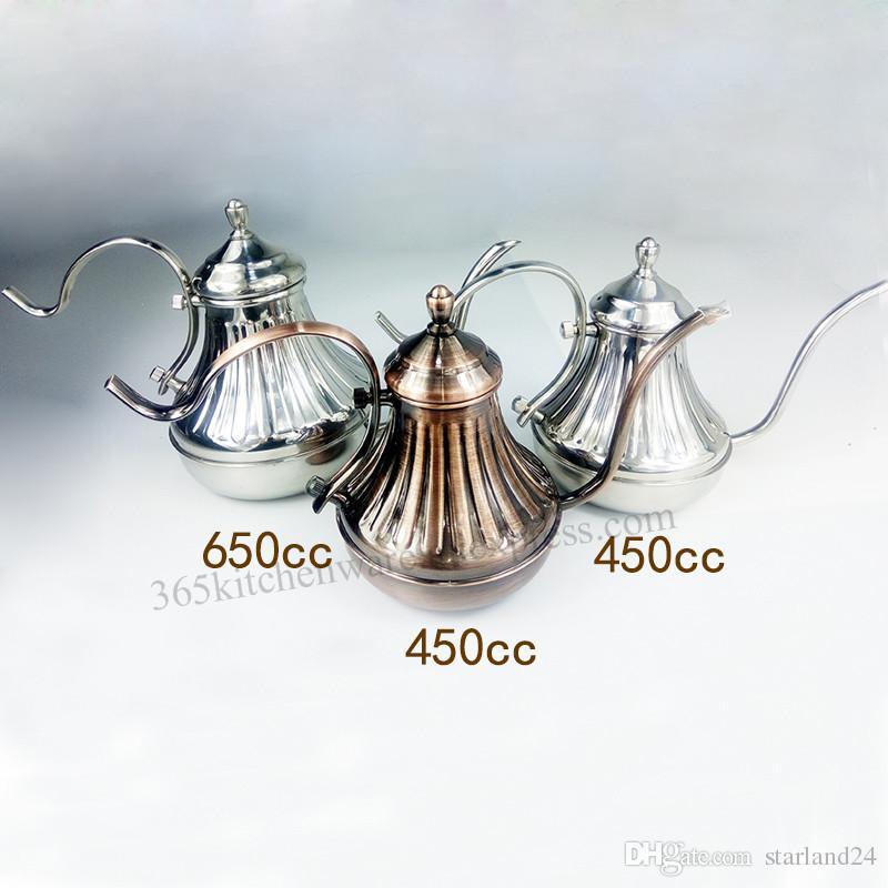 El Yumruk Cezve El Damla Su Isıtıcısı Ince Ağız Kaz-boyun Tencere Mahkemesi Tarzı 450 ml / 650 ml Gümüş / Bronz Renk