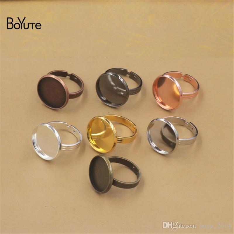 BoYuTe 20 Pcs 7 Colors Round 10MM 12MM 14MM 16MM 18MM 20MM Cabochon Base Ring Adjustable Diy Jewelry Findings Components