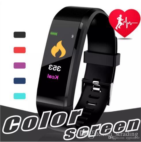 caixa de varejo Monitor de Smartwristband Tela LCD ID 115 ID115 Além disso inteligente Pressão Coração Pulseira de Fitness Rastreador pedômetro Watch Band Taxa de sangue