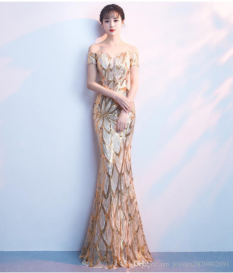Vintage Gold Cekiny Frezowanie Robe De Soiree Kobiety Sexy Off Ramię Bodycon Długość Długość Mermaid Party Dresses Evening Vestido
