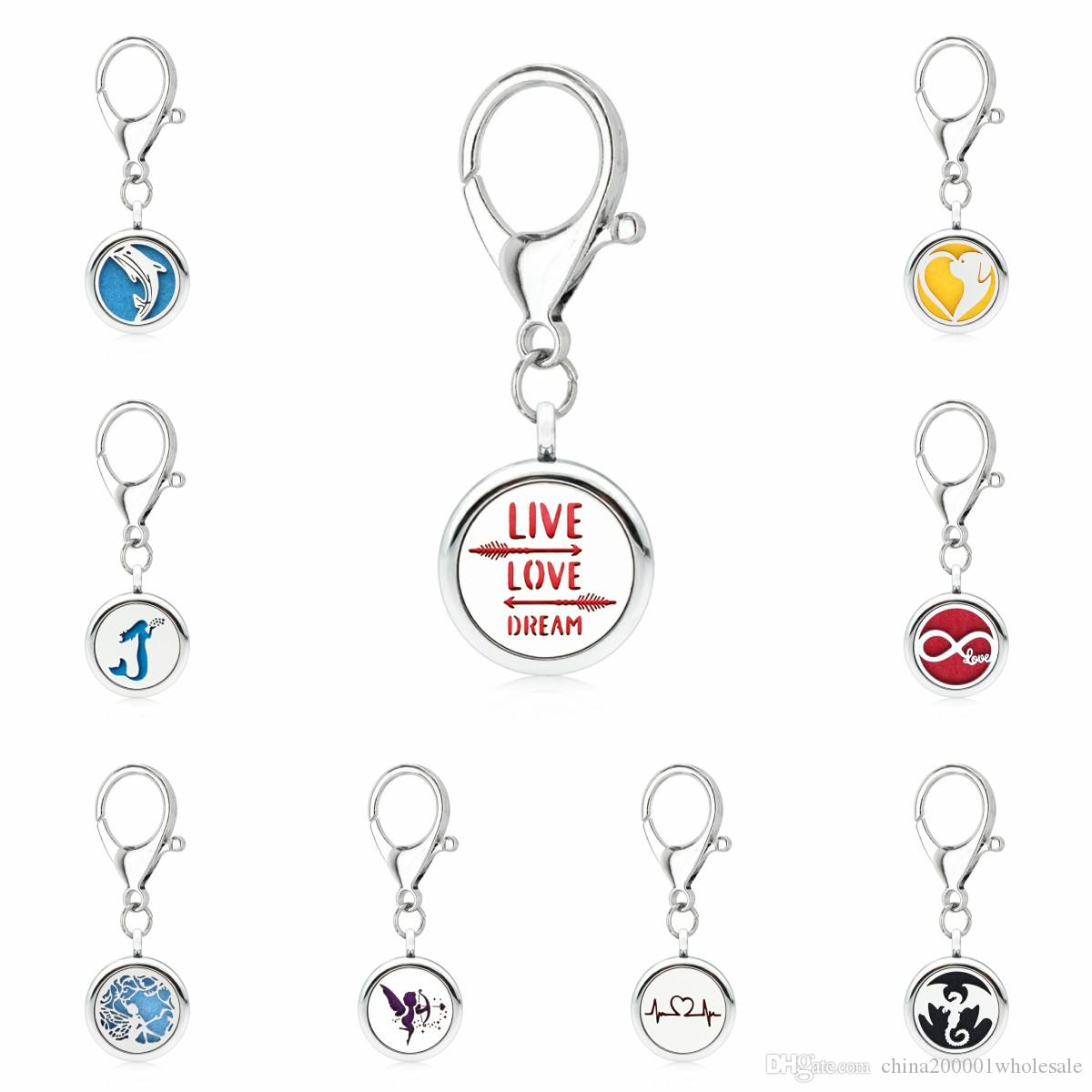 Live Love Dream Aroma Key Chain locket essential oil Locket Perfume Diffuser with Heart shape Lobster clasp Key ring 5pcs Pads
