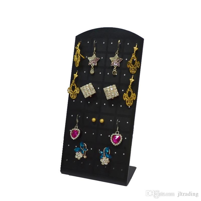 ファッションジュエリーディスプレイ5ピース/ロットイヤリングスタンドホルダーブラックアクリル72穴36ペアイヤリングディスプレイフックイヤリング収納ボックス