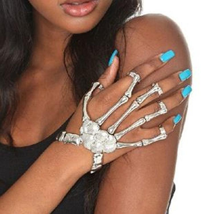 Punk Rock Skeleton Skull Hand Bone Knuckle Finger Bracelet Goth Bangle Jewelry Metallic Accessories hot sale