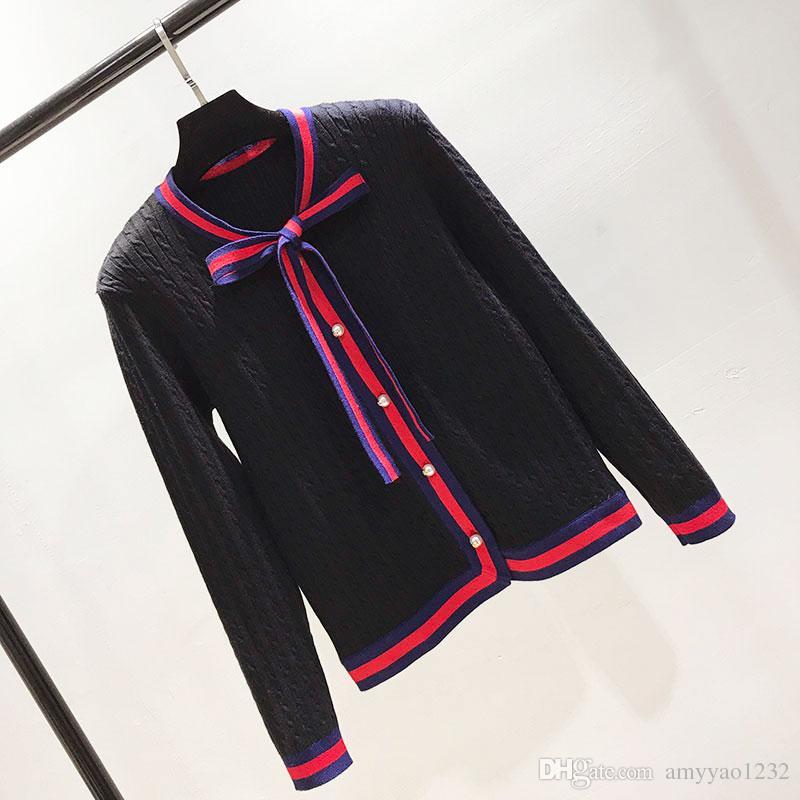 2018 Livraison gratuite col rond rouge blanc noir à rayures chandail design marque SAme style chandail de luxe femmes cardigan