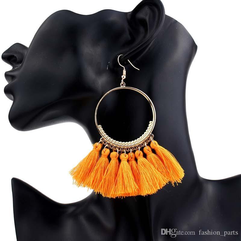 Peças de moda Presente quente Handmade Étnico Bohemian Tassel Earrings bohemia vintage women jewelry Long Tassel Earrings for Women