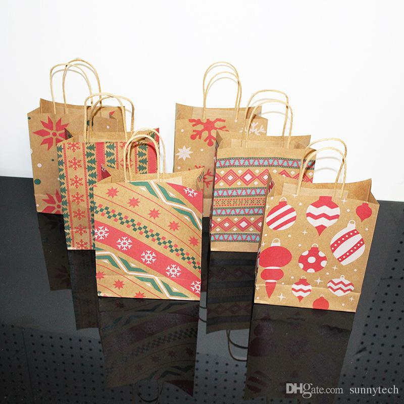 6 Style Kraft paper Christmas Gift Bag And Food Packaging Handle Christmas Gift Bag Cookie Bag Shopping Paper Bags LX1085
