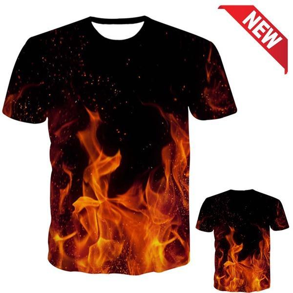 Grosshandel 2018 Neue Mode Sommer Cool T Shirt Trend Flamme 3d
