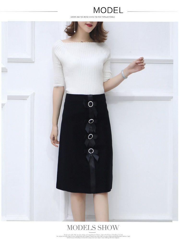 New 2019 Skirt Autumn Elegant Office Skirts Women High Waist Faldas Mujer Casual Black Skirt Chic Bow Saia Femme Invierno (3)