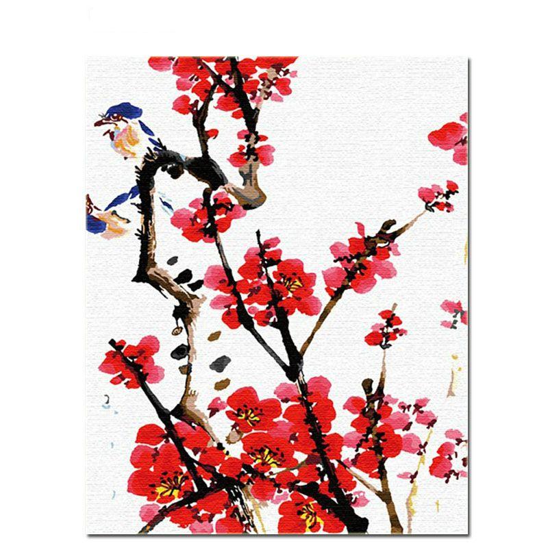 번호없는 그림으로 꽃이 핀다 그림을 그리기 꽃 Diy 손으로 그린 벽 예술 그림 가정 장식을위한 독특한 선물
