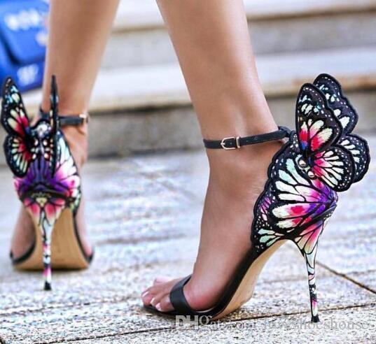 Nuevo color de la impresión bordada sandalias de mariposa bombas de las alas del banquete de boda de tacones altos del tobillo de la correa del vestido sandalias de las mujeres zapatos de banquete