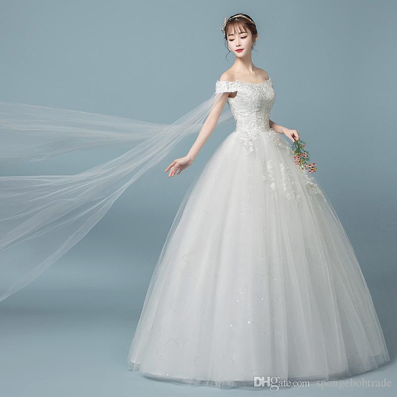 Factory Outlet Hot Women Shoulder Yarn Lace Wedding Dress A line Bateau Emboridery Flower Garden Wedding Ball Gown Dresses floor length W53