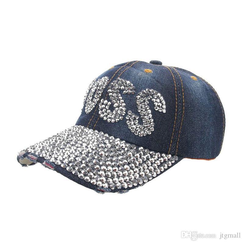 BLING WOMEN DENIM  BALL CAP WITH RHINESTONE bling BOSS BLING 12