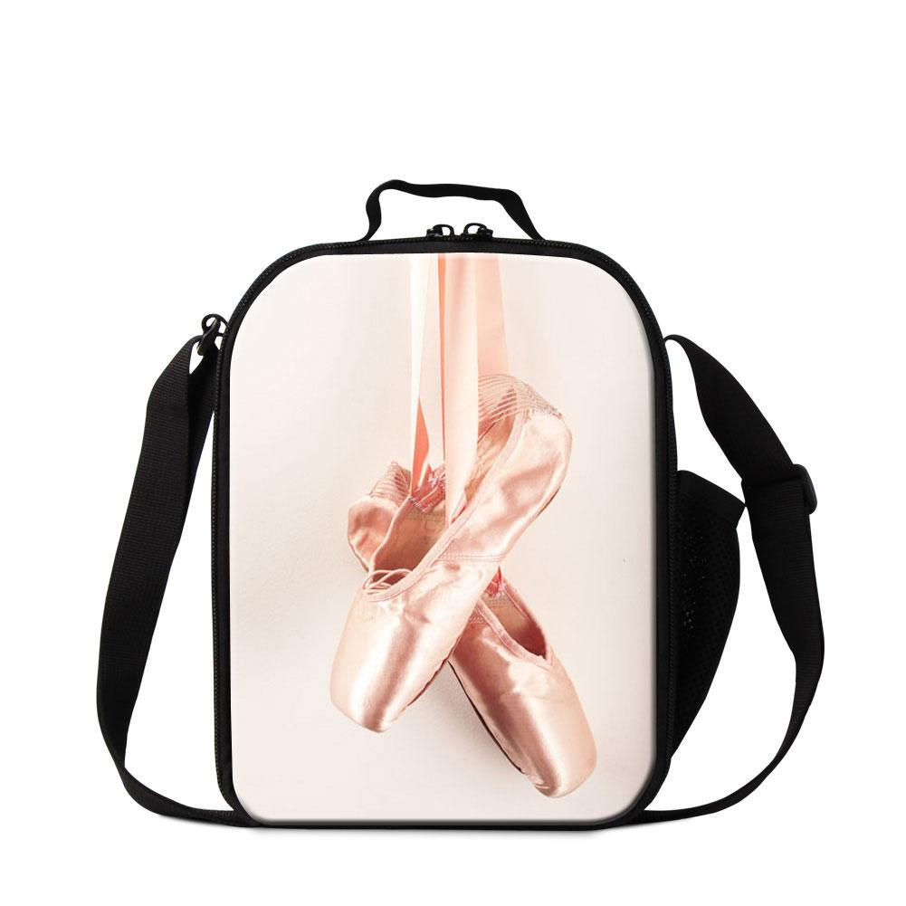 Ballet Girls Insulated Lunch Bag for Children School Cooler Bag Art Messenger Lunch Container for Kids Cute Meal Bag Small Lunch Box Women