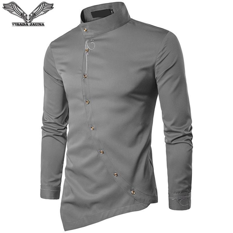 Visada Jauna 2018 새로운 남성 패션 코튼 긴 소매 셔츠 단색 슬림 피트 셔츠 남성 캐주얼 불규칙한 남자 드레스 N8931
