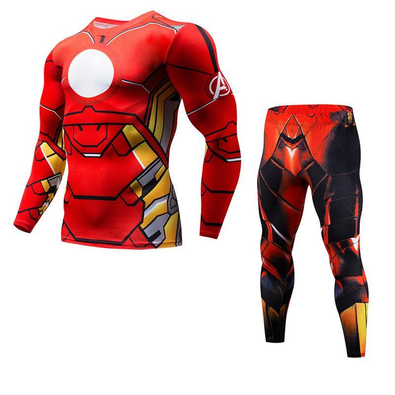 Date Fitness Ensembles De Compression Rouge Flash Hommes Costume 3D Imprimé MMA Crossfit Muscle Shirt Leggings Base Layer Bodybuilding Collants